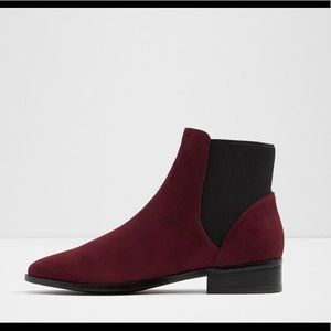 Aldo suede ankle boots booties burgundy